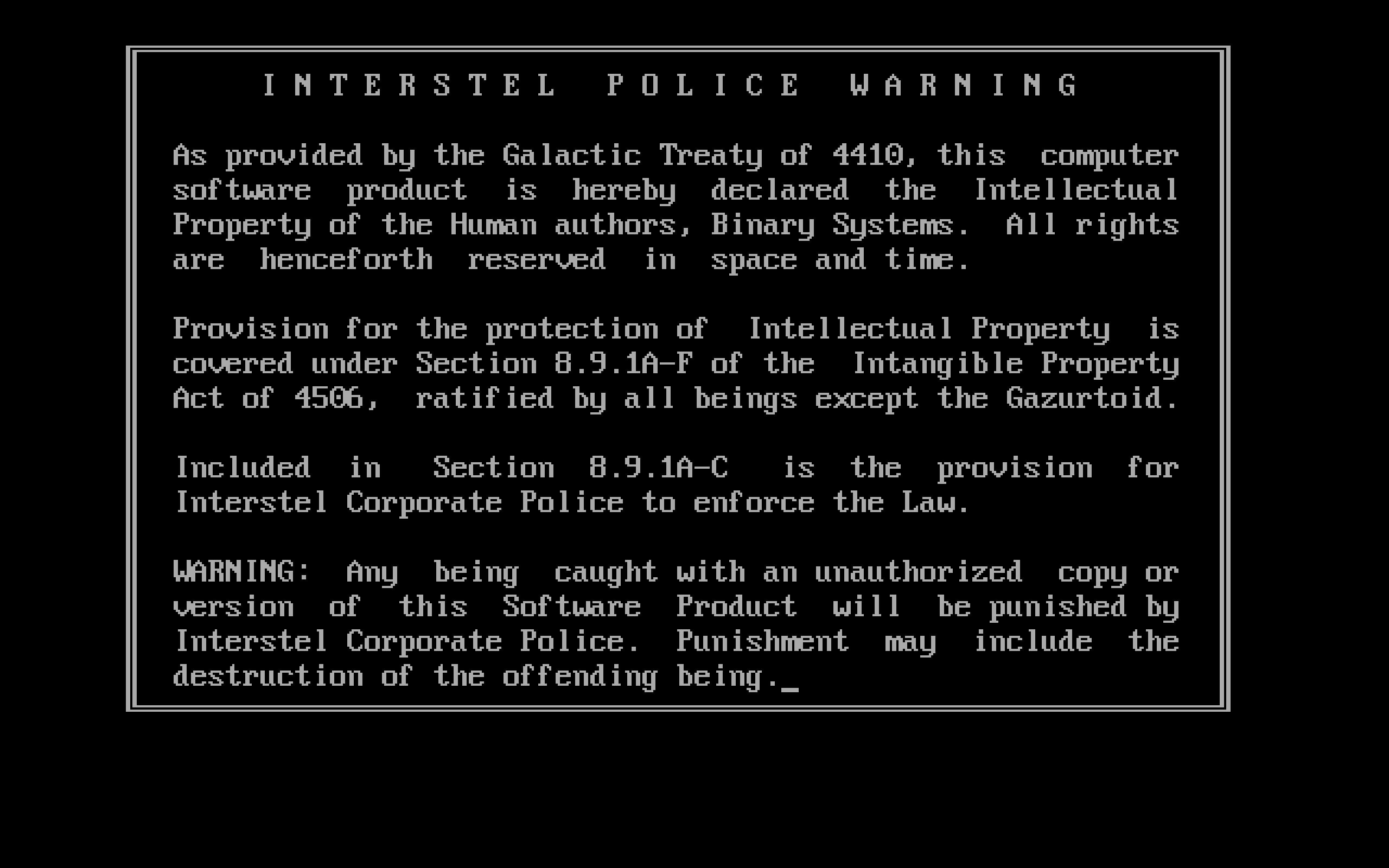 Warning Screen Shot (Original)